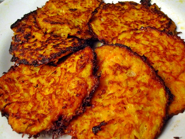"Parsnip and Carrot ""Latkes"" with Horseradish and Dill"